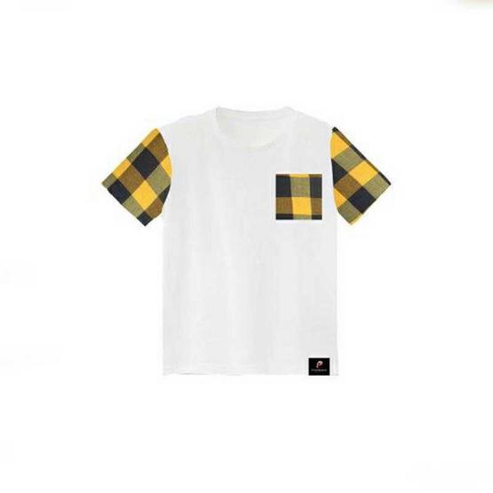 PAHKAHMAH เสื้อยืดผ้าขาวม้าสีขาว แขนตาราง น้ำเงิน เหลือง รุ่น PTW-A3