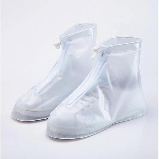 รองเท้าบูธคลุมกันฝนแบบสั้น ถุงครอบรองเท้า มีซิบและเชือก ป้องกันน้ำ