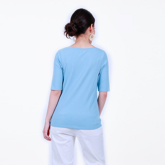 FABIA เสื้อคอวีผ้าเจอร์ซี่สีฟ้า