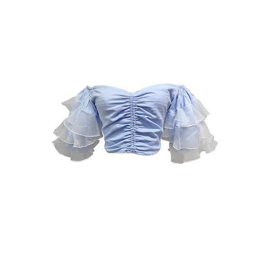 M2S เสื้อปาดไหล่ สีฟ้า Duchess By พิมดาว