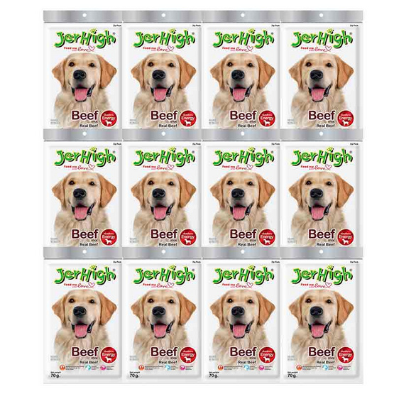 ขนมสุนัขเจอร์ไฮ สติ๊ก เนื้อวัว 70 กรัม (1แพ็ก 12 ชิ้น)