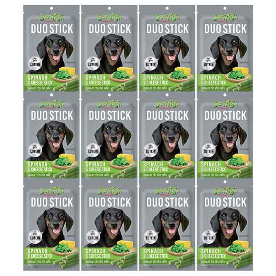 ขนมสุนัขเจอร์ไฮ ดูโอ้ สติ๊ก ผักโขมและชีส 50 กรัม (1แพ็ก 12 ชิ้น)