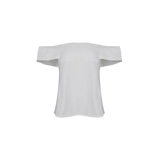 M2S เสื้อปาดไหล่ สีขาว Ladiiprang By มะปราง