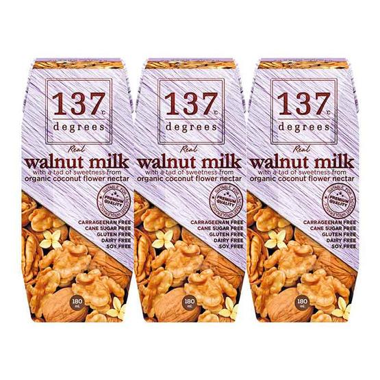 137 ดีกรี นมวอลนัท สูตรดั้งเดิม 180 มล. (แพ็ก 3 กล่อง)