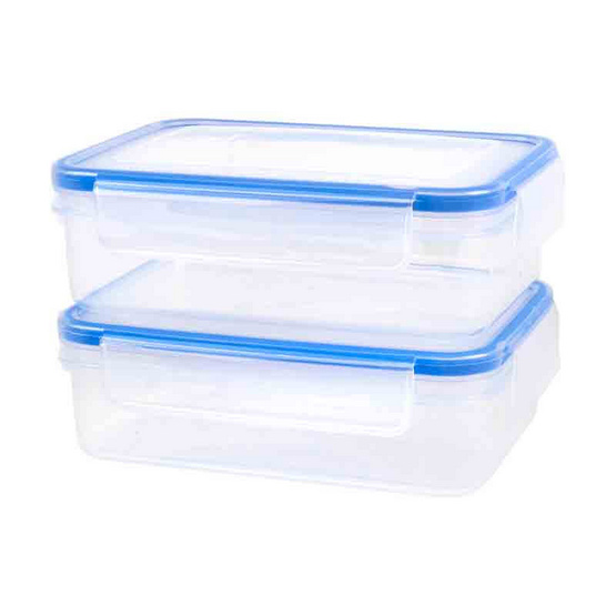 Double Lock กล่องอาหารทรงสี่เหลี่ยมผืนผ้า 800 ml. แพ็ค2ชิ้น