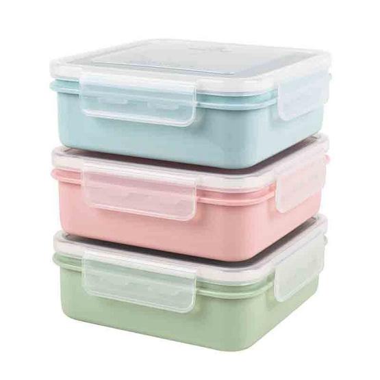 Double Lock กล่องอาหารทรงเหลี่ยมพร้อมช่องแบ่งถอด คละสีพาสเทล