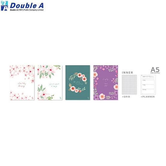 สมุดปกหุ้มพลาสติก เส้นตาราง A5 40แผ่น Blooming คละลาย 4 เล่ม