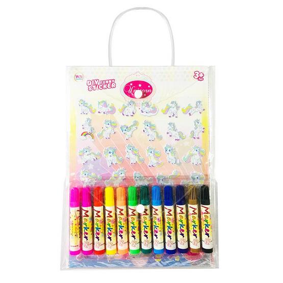 Set กระเป๋า Unicorn + สติ๊กเกอร์โฟม + สีเมจิก