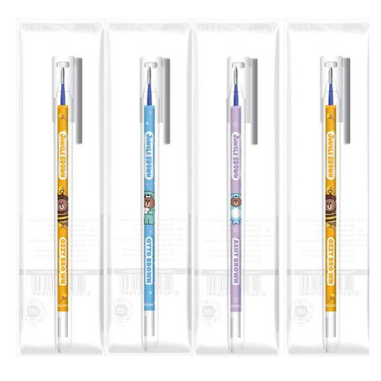 ปากกาหมึกเจลน้ำเงิน 0.5มม. JUNGLE BROWN (แพ็ก 4 ด้าม)