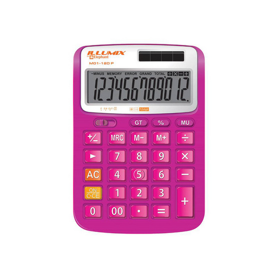ตราช้างเครื่องคิดเลข รุ่น M01-12D P สีชมพู