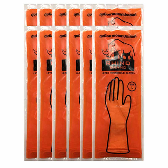 Rhino ถุงมือยาง สีส้ม Size  L (1 กล่อง 12คู่)