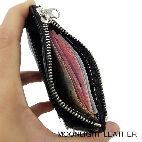 Moonlight AC027BKO กระเป๋าใส่เหรียญ ใส่บัตรหนังแท้ รุ่น Pure สีดำ