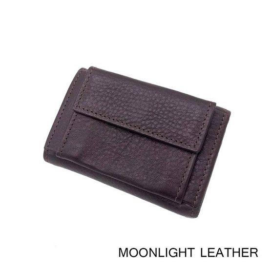 Moonlight AC030BRO กระเป๋าพวงกุญแจหนังแท้ 3 พับ สีน้ำตาลเข้ม ใส่กุญแจได้ 6 ดอก