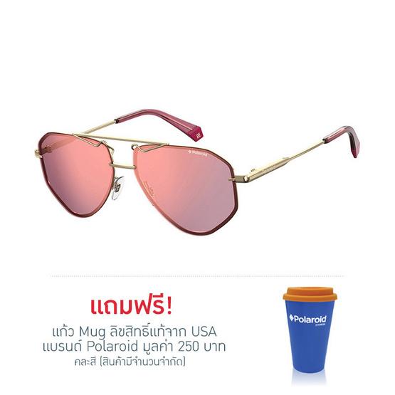 POLAROID แว่นตากันแดด เลนส์สีชมพู ขาแว่นสีทอง รุ่นPLD6092-YEPOZ (ฟรีแก้วน้ำ แบรนด์ POLAROID)