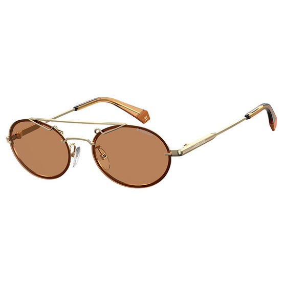 POLAROID แว่นตากันแดด เลนส์สีน้ำตาลทอง ขาแว่นสีทอง รุ่นPLD6094-01QHE (ฟรีแก้วน้ำ แบรนด์ POLAROID)