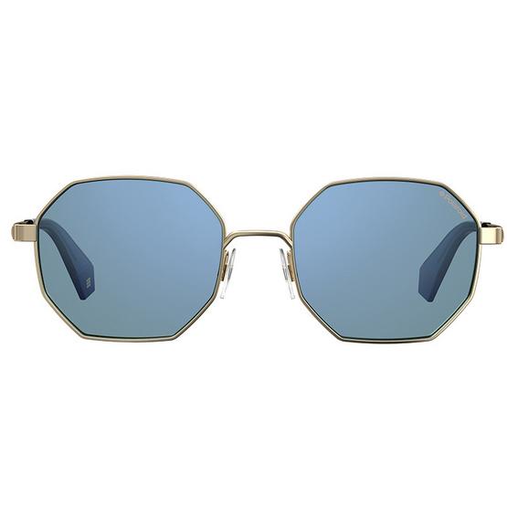POLAROID แว่นตากันแดด เลนส์ปรอทสีฟ้า ขาแว่นสีทอง รุ่นPLD6067-LKSXN(ฟรีแก้วน้ำ แบรนด์ POLAROID)