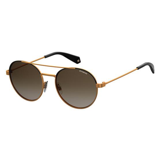 POLAROID แว่นตากันแดด เลนส์สีน้ำตาล-ชา ขาแว่นสีทอง รุ่นPLD6056-YYCLA (ฟรีแก้วน้ำ แบรนด์ POLAROID)