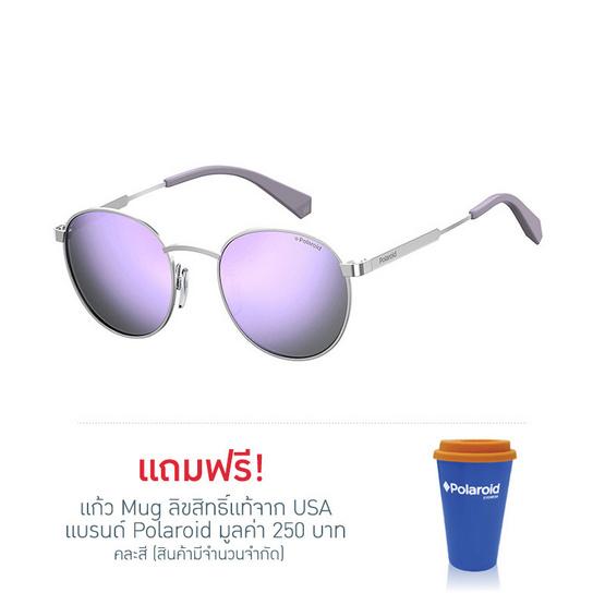 POLAROID แว่นตากันแดด เลนส์ปรอทสีม่วง ขาแว่นสีเงินด้าน รุ่นPLD2053-B6EMF (ฟรีแก้วน้ำ แบรนด์ POLAROID)
