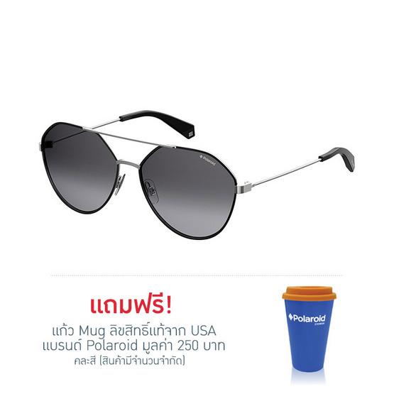 POLAROID แว่นตากันแดด เลนส์สีเทา ขาแว่นสีเงิน รุ่นPLD6059-284WJ (ฟรีแก้วน้ำ แบรนด์ POLAROID)