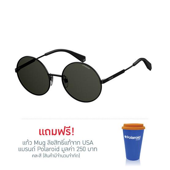 POLAROID แว่นตากันแดด เลนส์สีดำ ขาแว่นสีดำ รุ่นPLD4052-807M9 (ฟรีแก้วน้ำ แบรนด์ POLAROID)