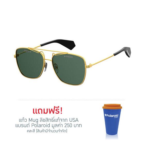 POLAROID แว่นตากันแดด เลนส์สีเขียว ขาแว่นสีทอง รุ่นPLD6049-J5GUC (ฟรีแก้วน้ำ แบรนด์ POLAROID)