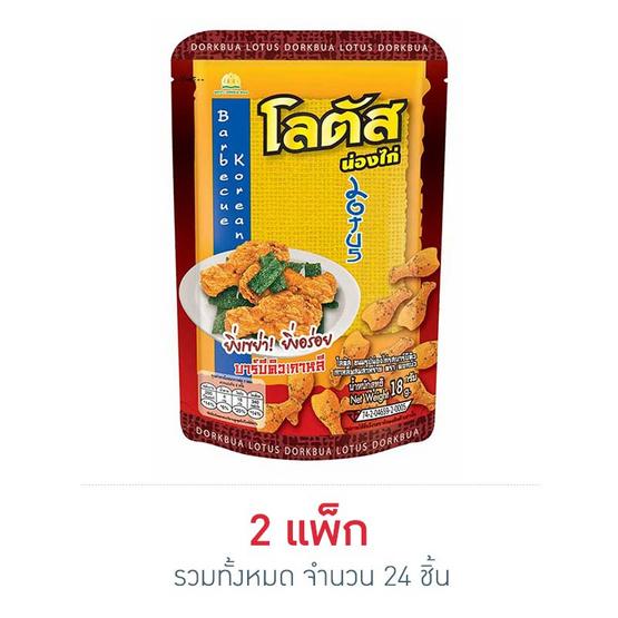 โลตัสขนมรูปน่องไก่ รสบาร์บีคิวเกาหลีผสมสาหร่าย 18 กรัม แพ็ก 12 ชิ้น