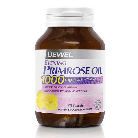 BEWEL Evening Primrose Oil 1000mg Plus vitamin E (บีเวล น้ำมันอีฟนิ่งพริมโรส 1,000 มก. พลัสวิตามินอี ) บรรจุ 70 แคปซูล