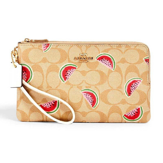 COACH 3121 DOUBLE ZIP WALLLET IN SIGNATURE CANVAS WITH WATERMELON PRINT (IMR0Q) [MC3121IMR0Q-CV]