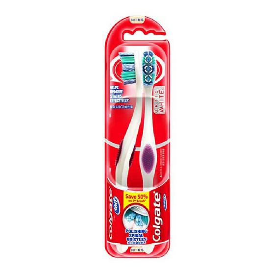 คอลเกต แปรงสีฟัน 360 อ๊อฟติค ไวท์ (แพ็กคู่)
