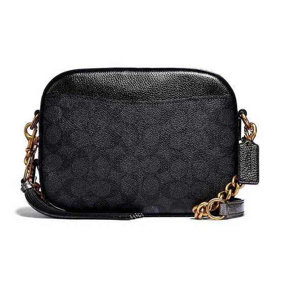 COACH 39684 CAMERA BAG IN SIGNATURE CANVAS WITH RIVETS AND SNAKESKIN DETAIL (B4O84)