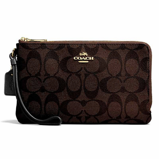 COACH F16109 DOUBLE ZIP WALLET IN SIGNATURE COATED CANVAS (IMAA8)