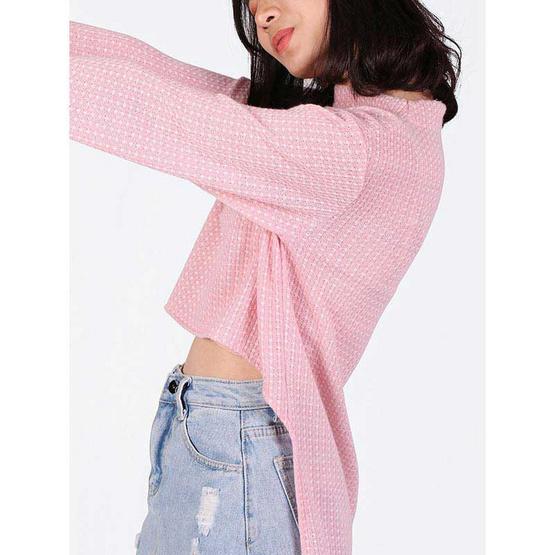 Mix On เสื้อสเวตเตอร์หน้าสั้นหลังยาวสีชมพู