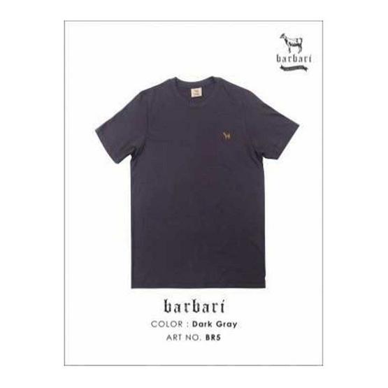 Barbari เสื้อยืดคอกลม Premium Cotton 100% ใส่ได้ทั้งผู้หญิง/ผู้ชาย สีเทาเข้ม