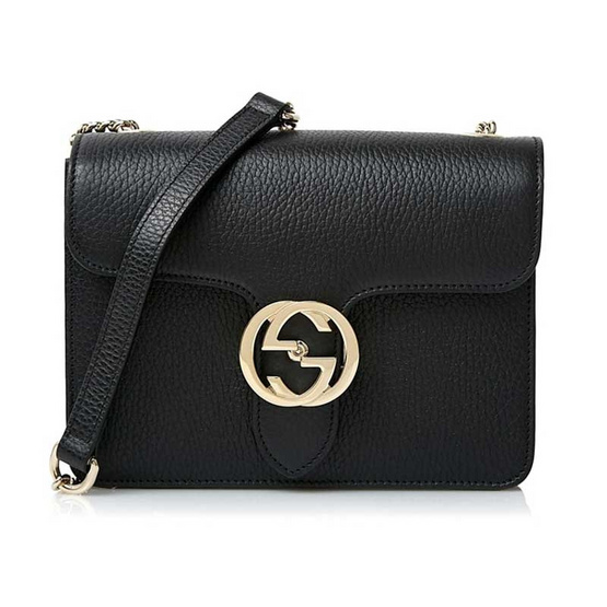 GUCCI GG INTERLOCKING SMALL SHOULDER BAG (BLACK)