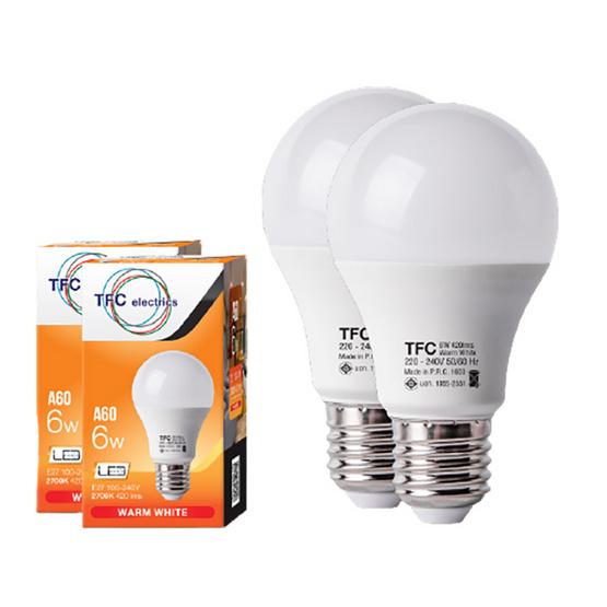 TFC หลอด LED A60 ECO 6 วัตต์ ขั้ว E27 แสงวอร์มไวท์ / 2ชิ้น