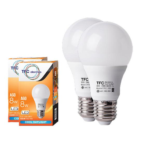 TFC หลอด LED A60 ECO 8 วัตต์ ขั้ว E27 แสงเดย์ไลท์ -ขาว / 2ชิ้น