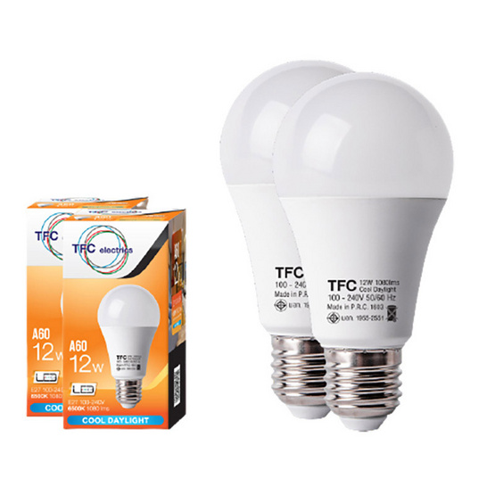 TFC หลอด LED A60 ECO 12 วัตต์ ขั้ว E27 แสงเดย์ไลท์ -ขาว / 2ชิ้น