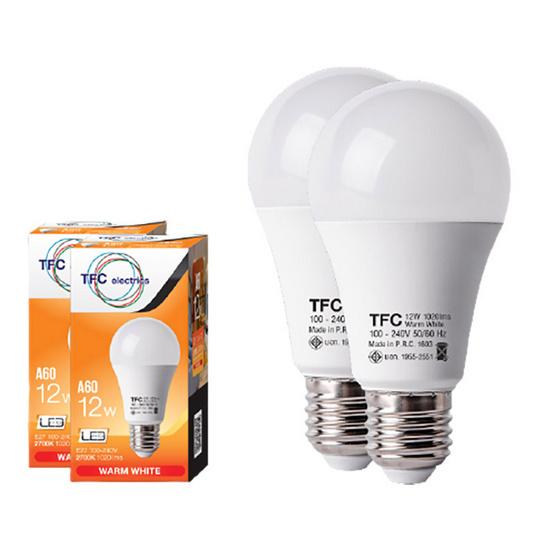 TFC หลอด LED A60 ECO 12 วัตต์ ขั้ว E27 แสงวอร์มไวท์ / 2ชิ้น