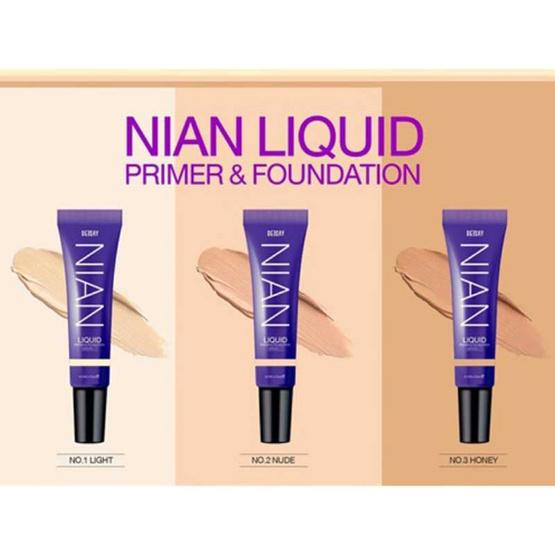 Deesay รองพื้น Nian Liquid Primer & Foundation SPF30 PA+++ No.1 Light (2 ชิ้น) ฟรี ฟองน้ำแต่งหน้า