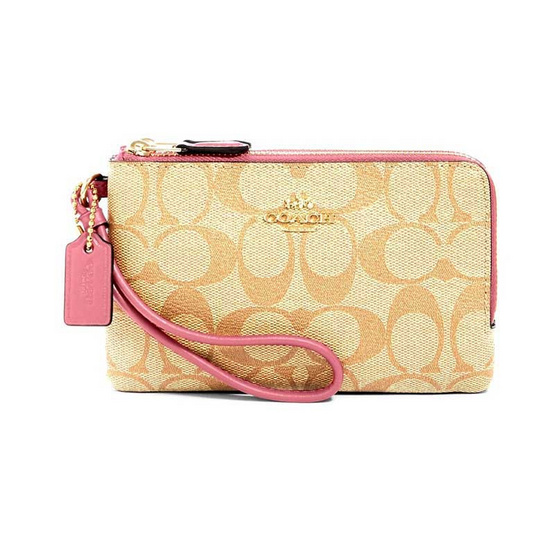 COACH 87591 DOUBLE CORNER ZIP WRISTLET IN SIGNATURE CANVAS (IMR6D)