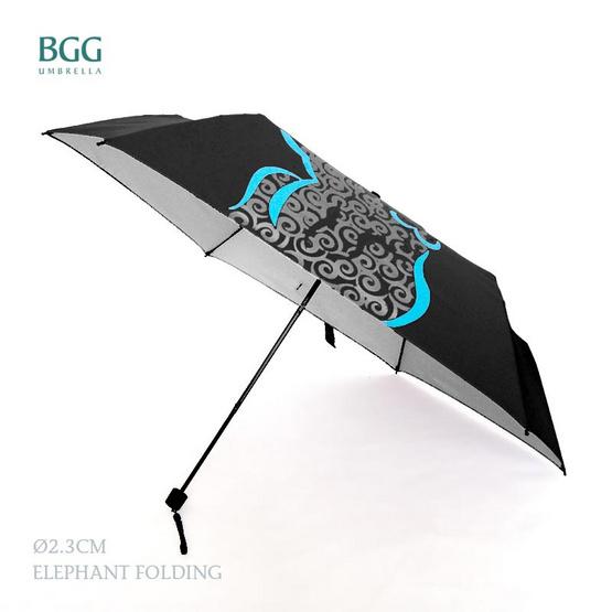 BGG ร่มพับ 3ตอน เคลือบuvสีเงิน สีดำ