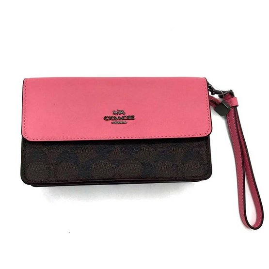 COACH 78229 FOLDOVER WRISTLET IN SIGNATURE CANVAS (QBR6K)