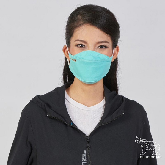 หน้ากากผ้า รุ่นเซฟการ์ด (แอนตี้ไวรัส&แอนตี้แบคทีเรีย) สไตล์เกาหลี (ผู้ใหญ่) - สีเขียวอมฟ้า