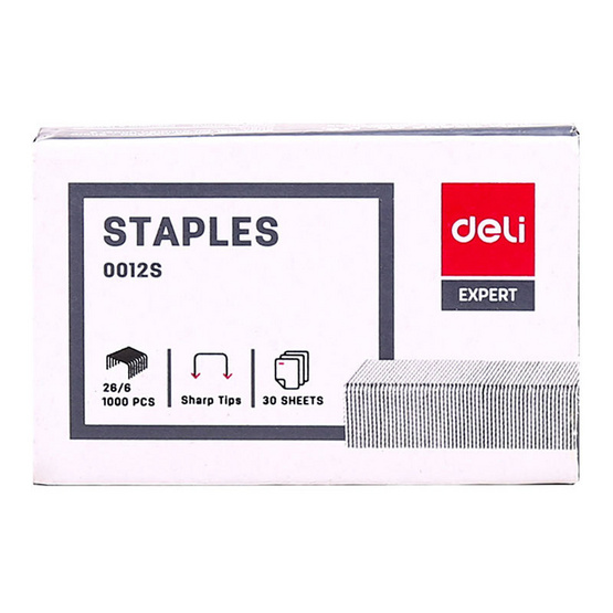 Deli 0012S ลวดเย็บกระดาษเบอร์ 35 No.26/6 (1,000 เข็ม/กล่อง)