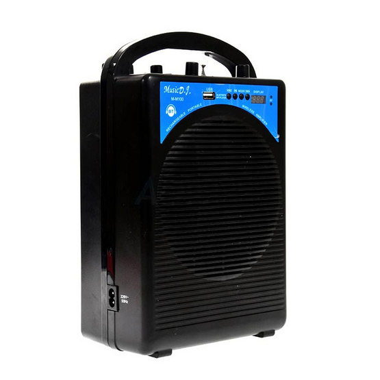 MUSIC D.J. ลำโพงบลูทูธ M-M100 Bluetooth / USB / TF / MIC / FM พร้อมไมค์ลอย-ไมค์เหน็บ