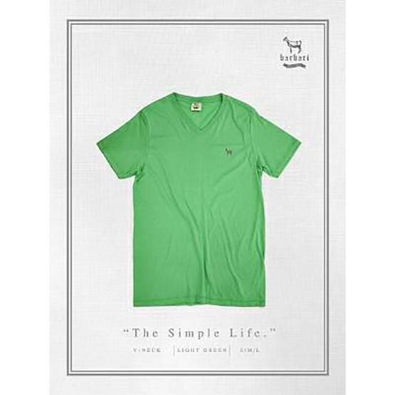 Barbari เสื้อยืดคอวี Premium Cotton 100% รุ่น Basic ใส่ได้ทั้งผู้หญิง/ผู้ชาย BV1 สีเขียวอ่อน