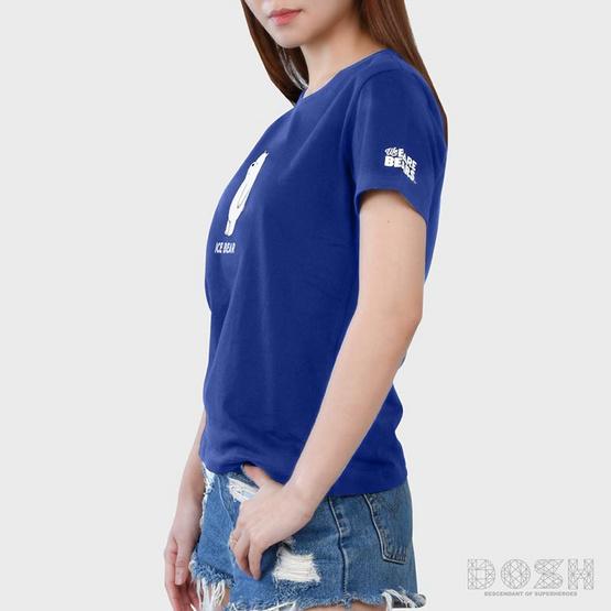 DOSH เสื้อยืดคอกลมแขนสั้นผู้หญิง WE BARE BEARS สีน้ำเงิน