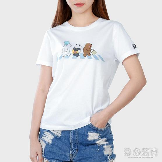 DOSH เสื้อยืดคอกลมแขนสั้นผู้หญิง WE BARE BEARS สีขาว