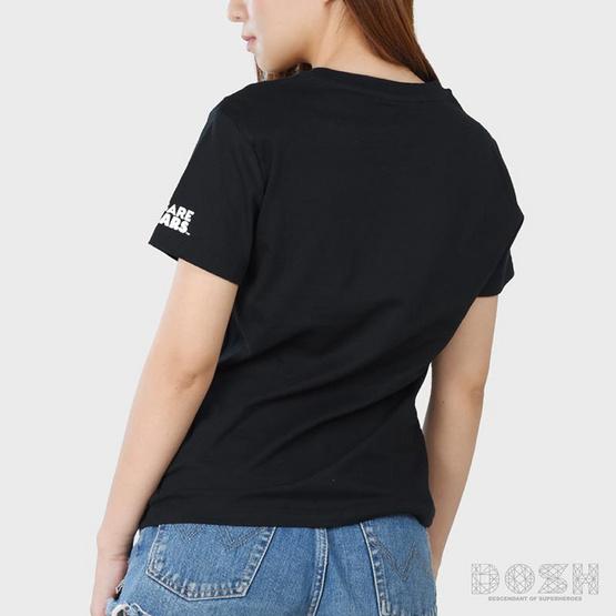 DOSH เสื้อยืดคอกลมแขนสั้นผู้หญิง WE BARE BEARS สีดำ