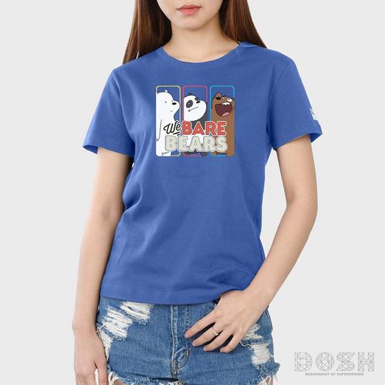 DOSH เสื้อยืดคอกลมแขนสั้นผู้หญิง WE BARE BEARS สีฟ้า